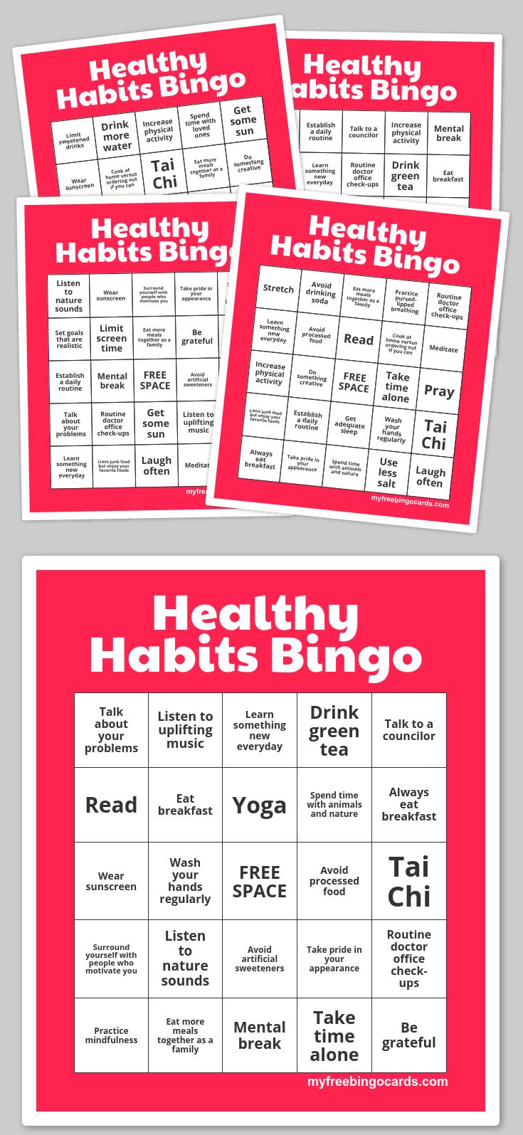 Healthy Habits Bingo | Free Printable Bingo Cards, Bingo