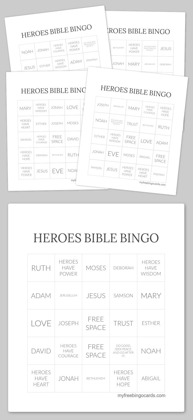 Heroes Bible Bingo | Free Printable Bingo Cards, Free Bingo