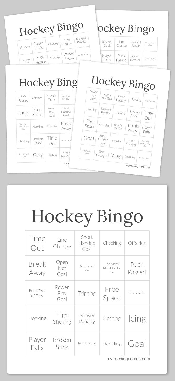 Hockey Bingo | Bingo Cards Printable, Bingo Printable, Free