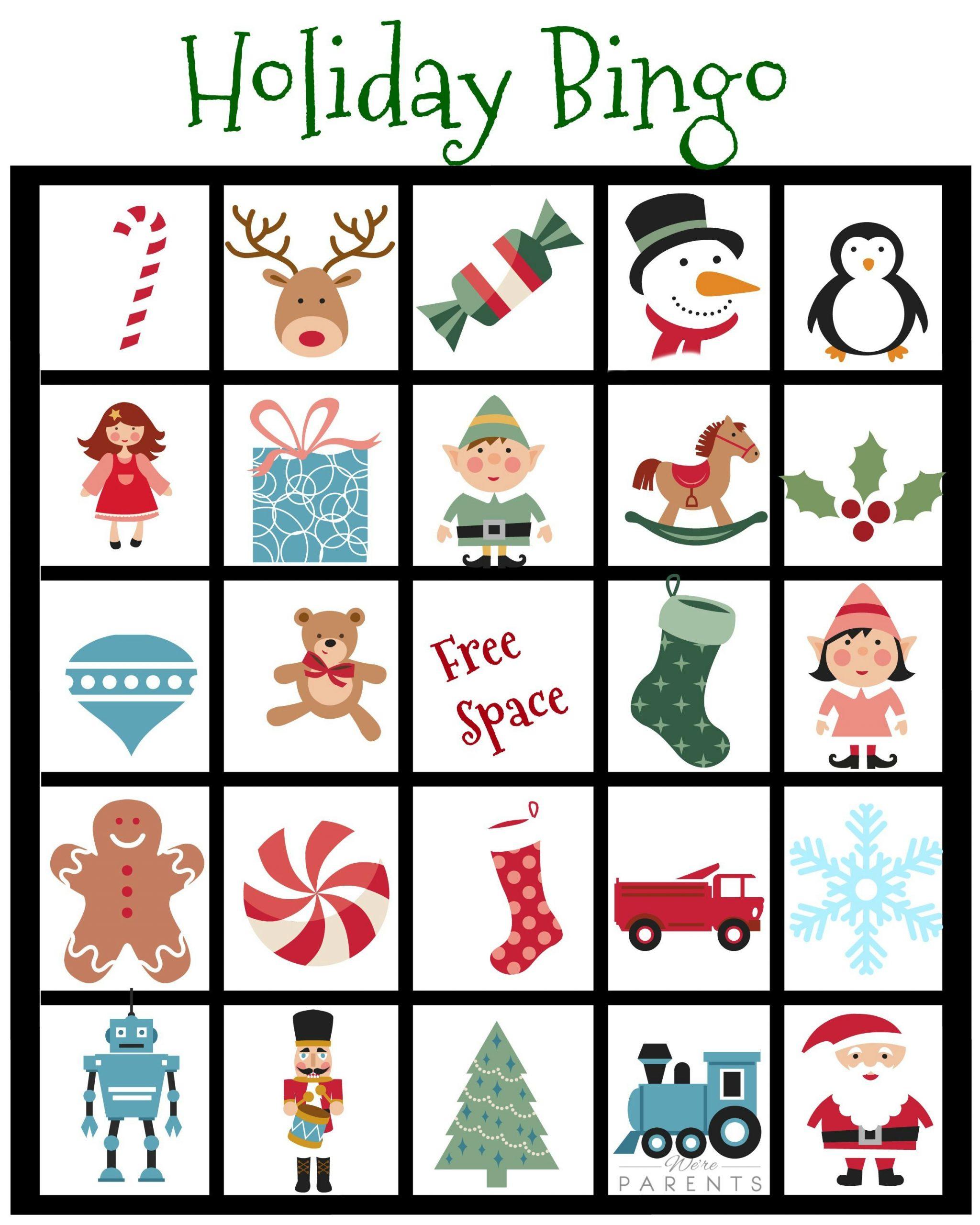 Holiday Bingo Card Printable For Kids   Christmas Bingo