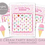 Ice Cream Bingo Game, Ice Cream Party Game, Printable Bingo
