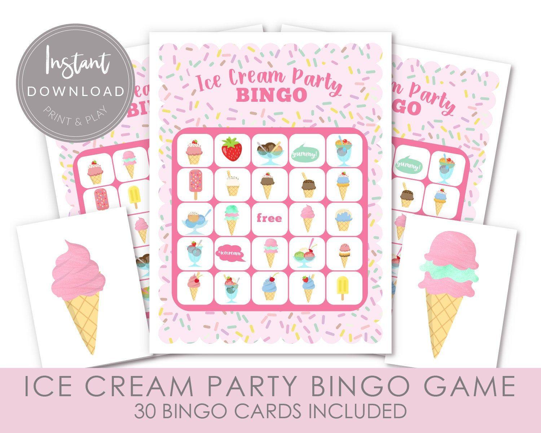 Ice Cream Bingo Game, Ice Cream Party Game, Printable Bingo