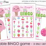 Ice Cream Bingo Printable Party Game   30 Bingo Cards   Ice