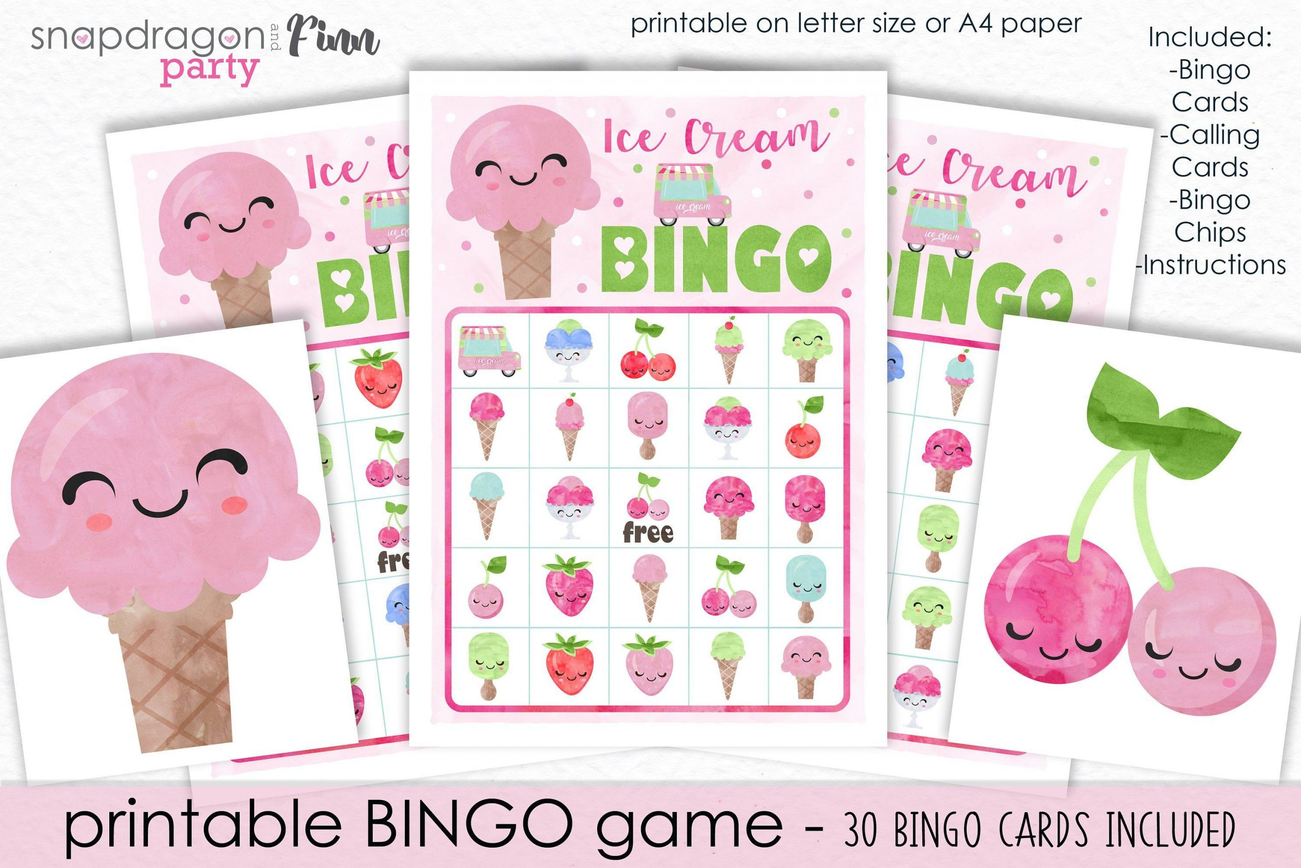 Ice Cream Bingo Printable Party Game - 30 Bingo Cards - Ice