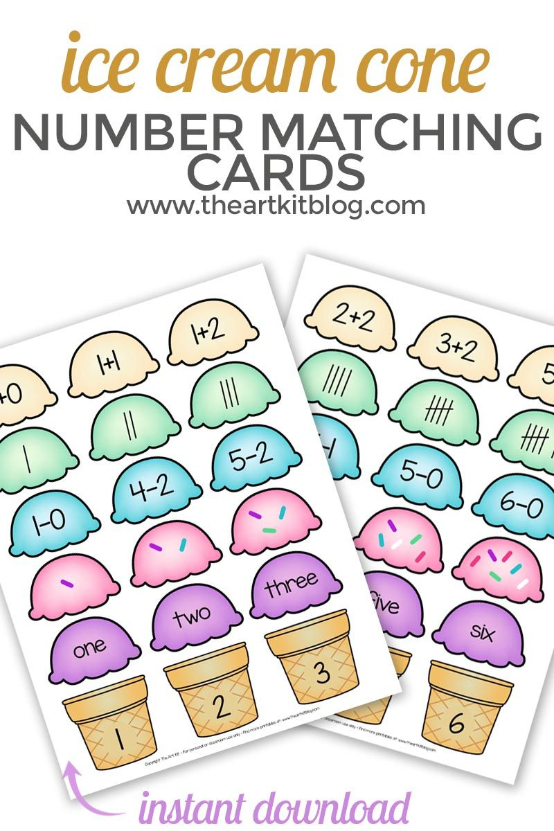 Ice Cream Cone Number Match Up Printable Cards - Free