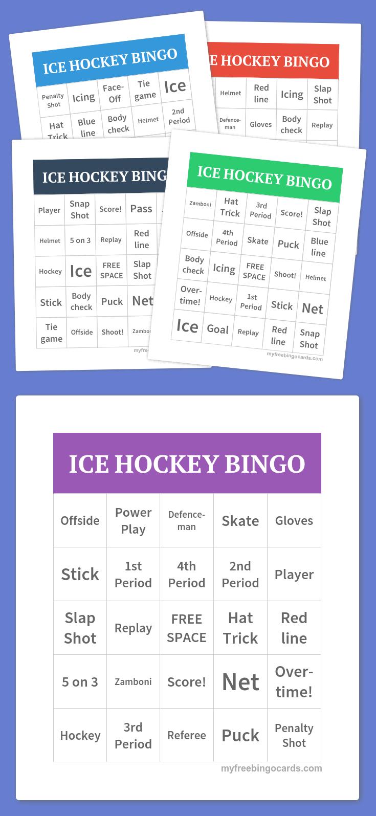 Ice Hockey Bingo | Free Bingo Cards, Bingo Cards Printable