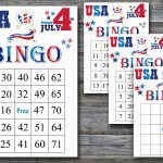 Independence Day Bingo, Patriotic Bingo Game, 60 Bingo Card