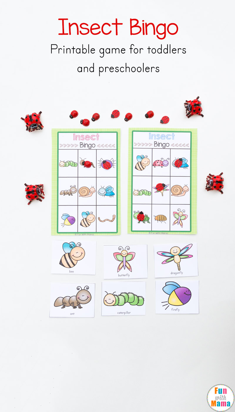 Insect Printable Bingo Game For Kids - Fun With Mama