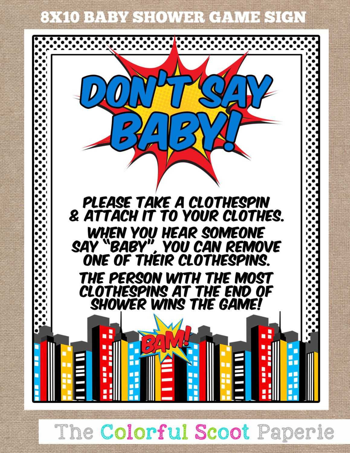 Instant Download, Superhero Baby Shower Don't Say Baby Game