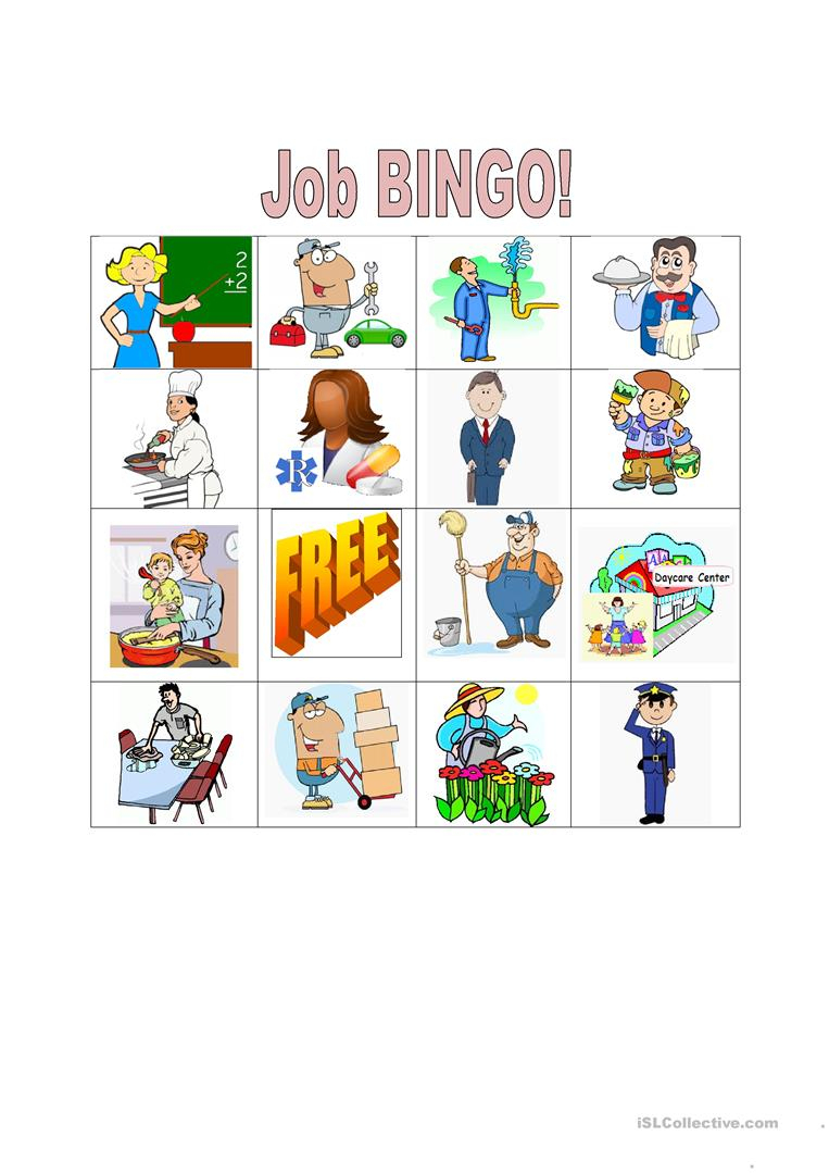Job Bingo - English Esl Worksheets For Distance Learning And