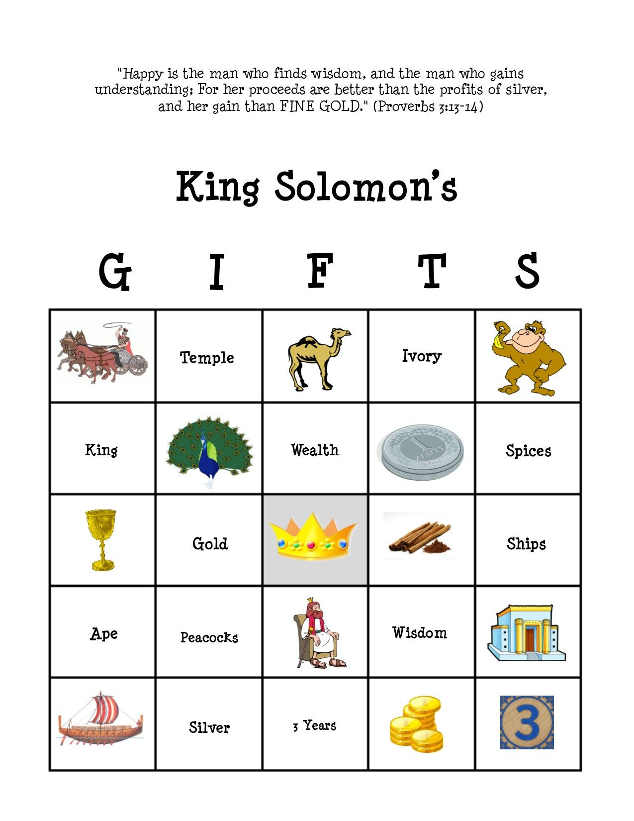 King Solomon Bingo Card #2 | Sunday School Crafts, Sunday