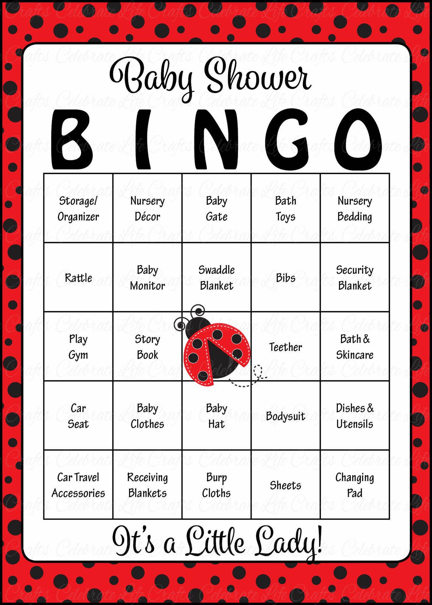 Ladybug Baby Bingo Cards - Printable Download - Prefilled