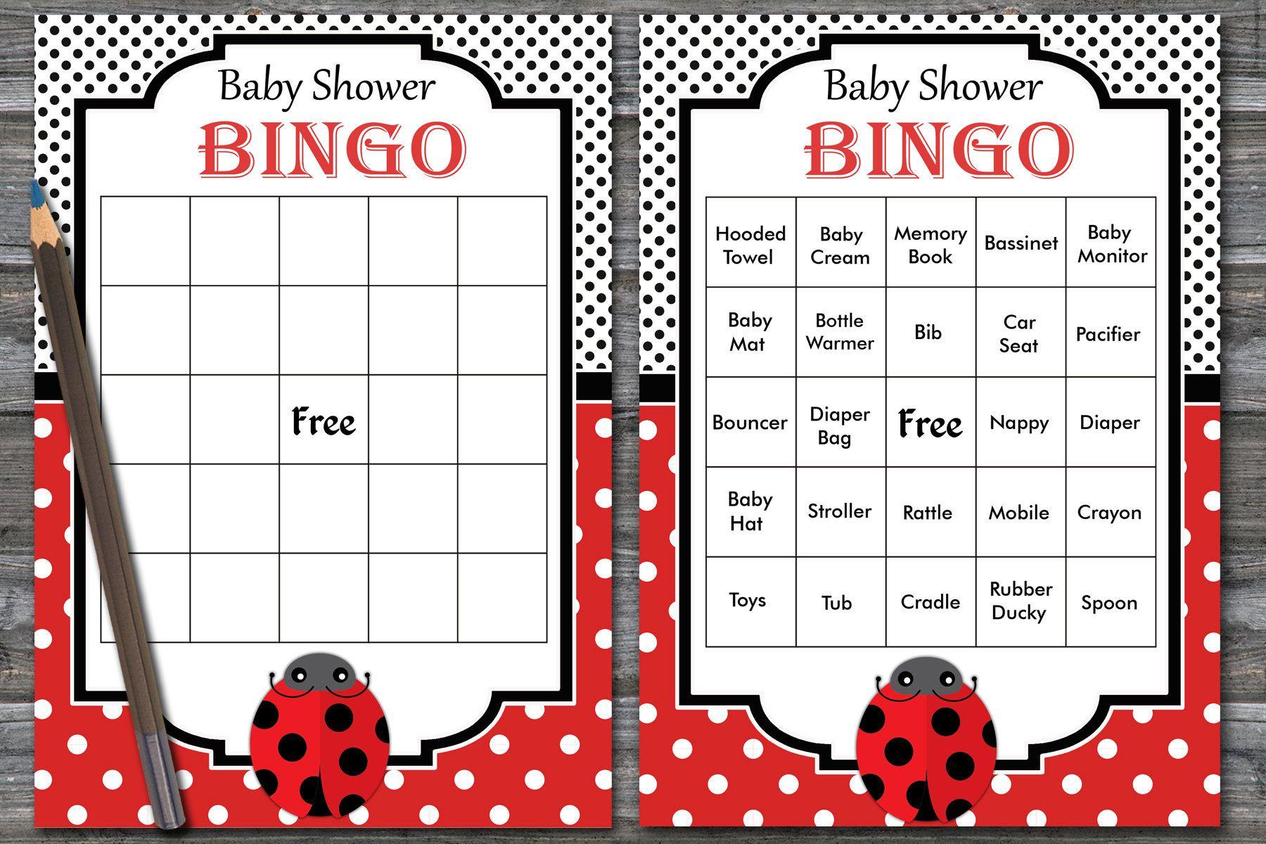 Ladybug Baby Shower Bingo Cards, Ladybug Baby Shower Bingo