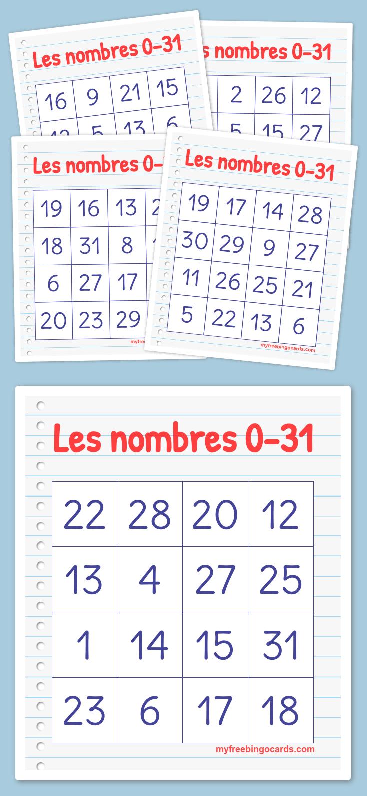 Les Nombres 0-31 Bingo | Bingo Cards Printable, Free