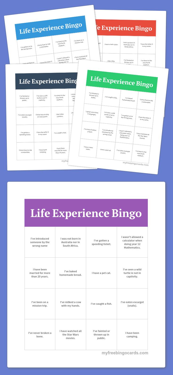 Life Experience Bingo | Bingo Printable, Bingo Cards