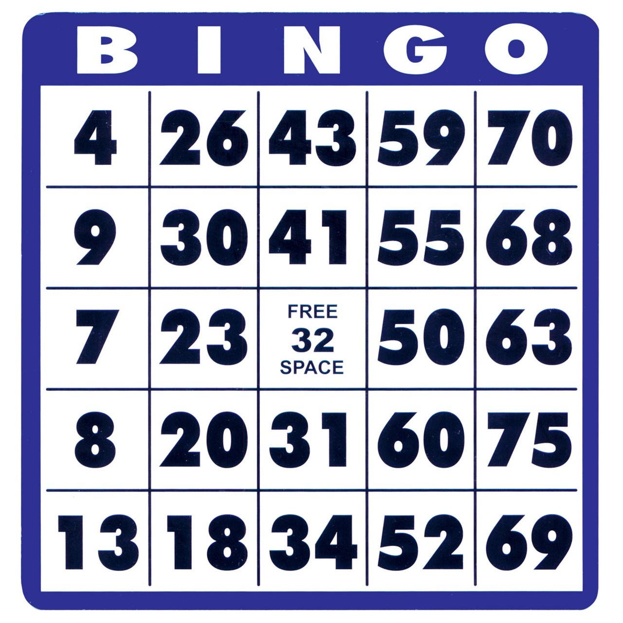 Low Vision Bingo Cards -10 Cards