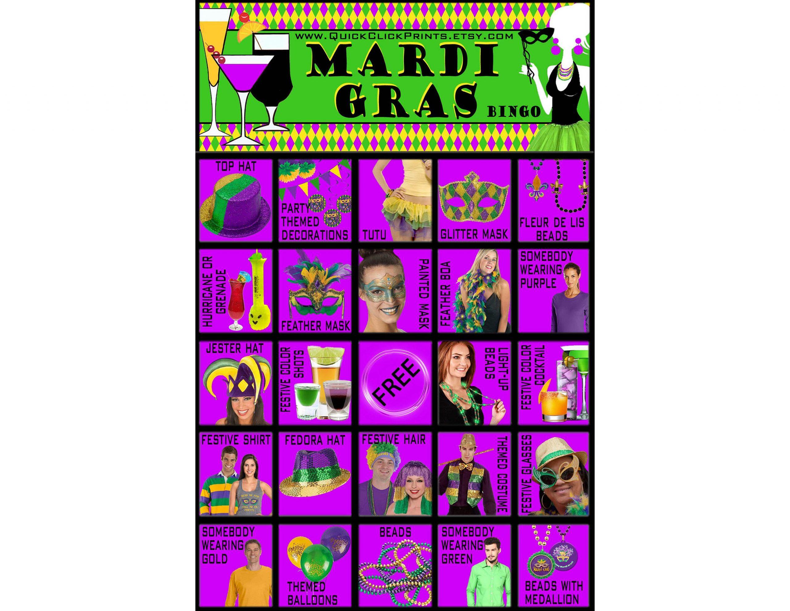 Mardi Gras Bingo - 30 Cards - Mardi Gras People Watching