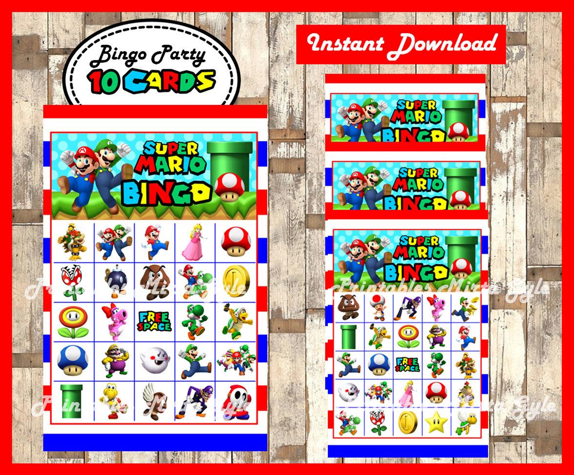 Mario Bros 10 Bingo Cards, Printable Mario Bros Bingo Game, Mario Bros  Printable Bingo Cards Instant Download