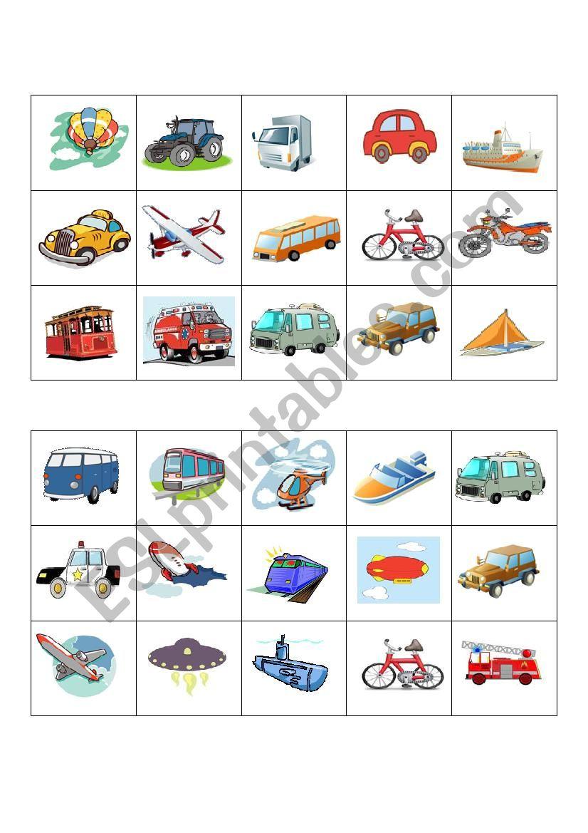 Means Of Transport Bingo Cards - Esl Worksheetcarmenmyguel