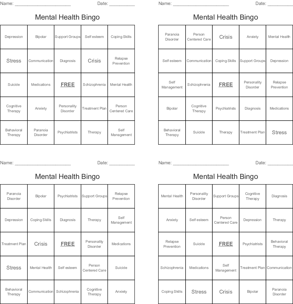 Mental Health Bingo - Wordmint