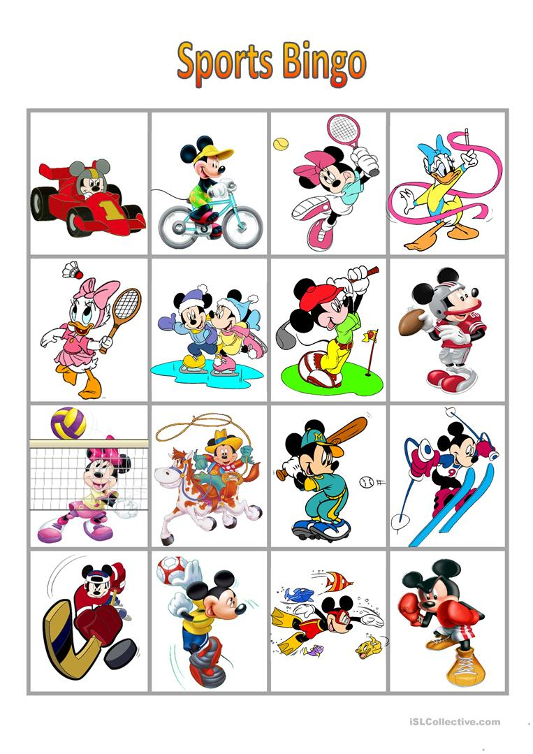 Mickey Mouse Sports Bingo - English Esl Worksheets For
