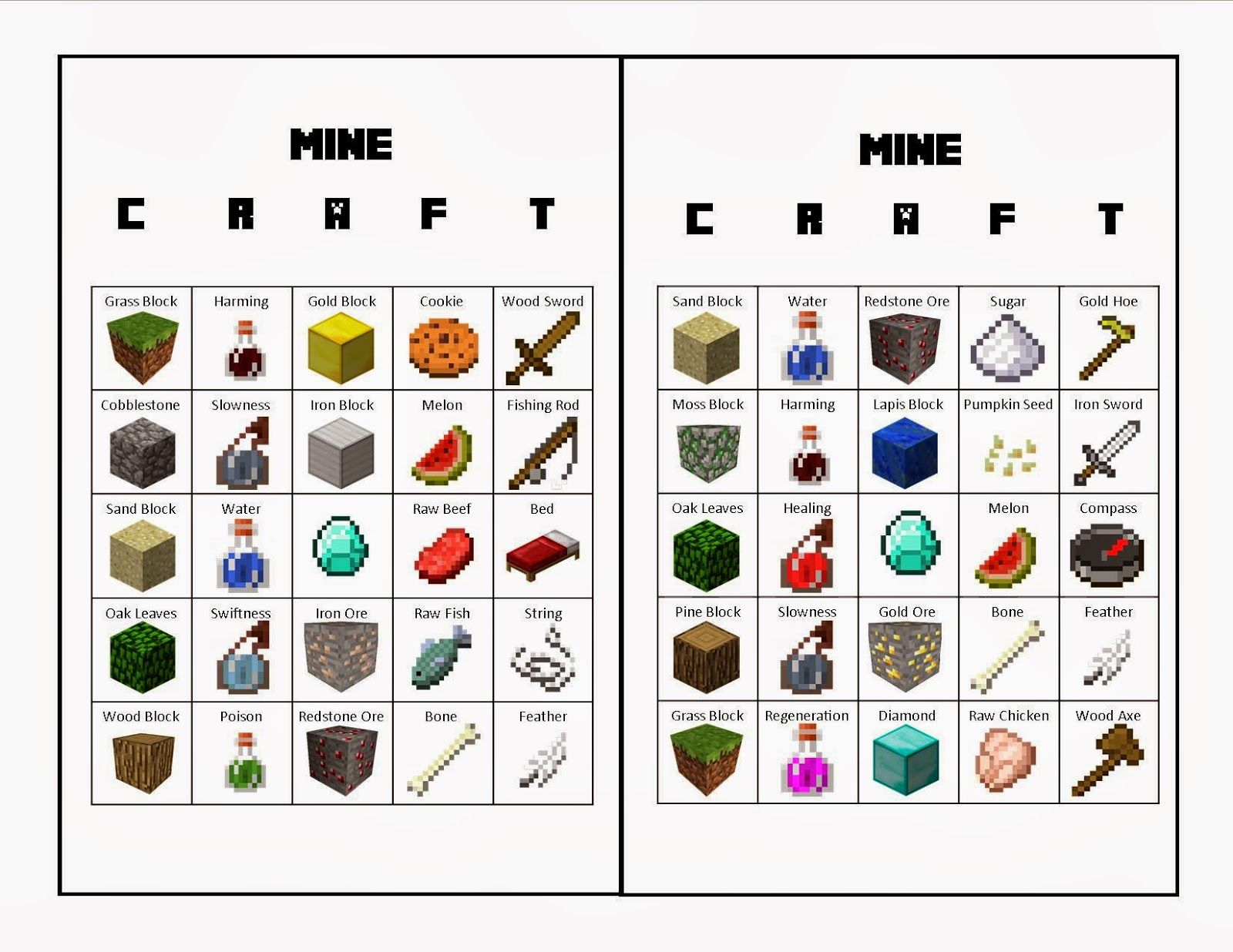 Minecraft Bingo From Life With Squeaker: The Upside Link