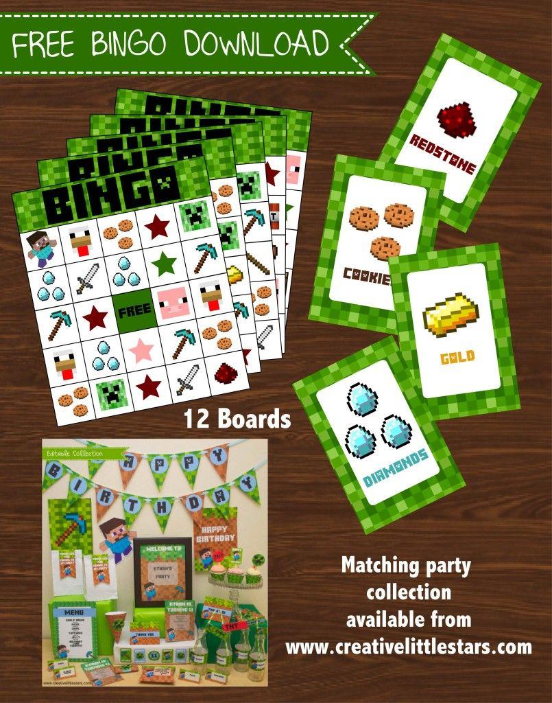 Minecraft Bingo Game. Minecraft Printable Bingo #minecraft