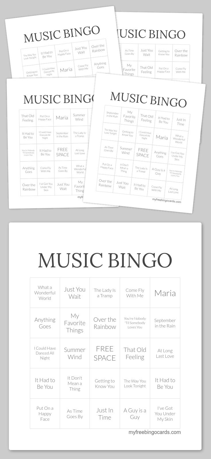Music Bingo | Bingo Printable, Free Printable Bingo Cards
