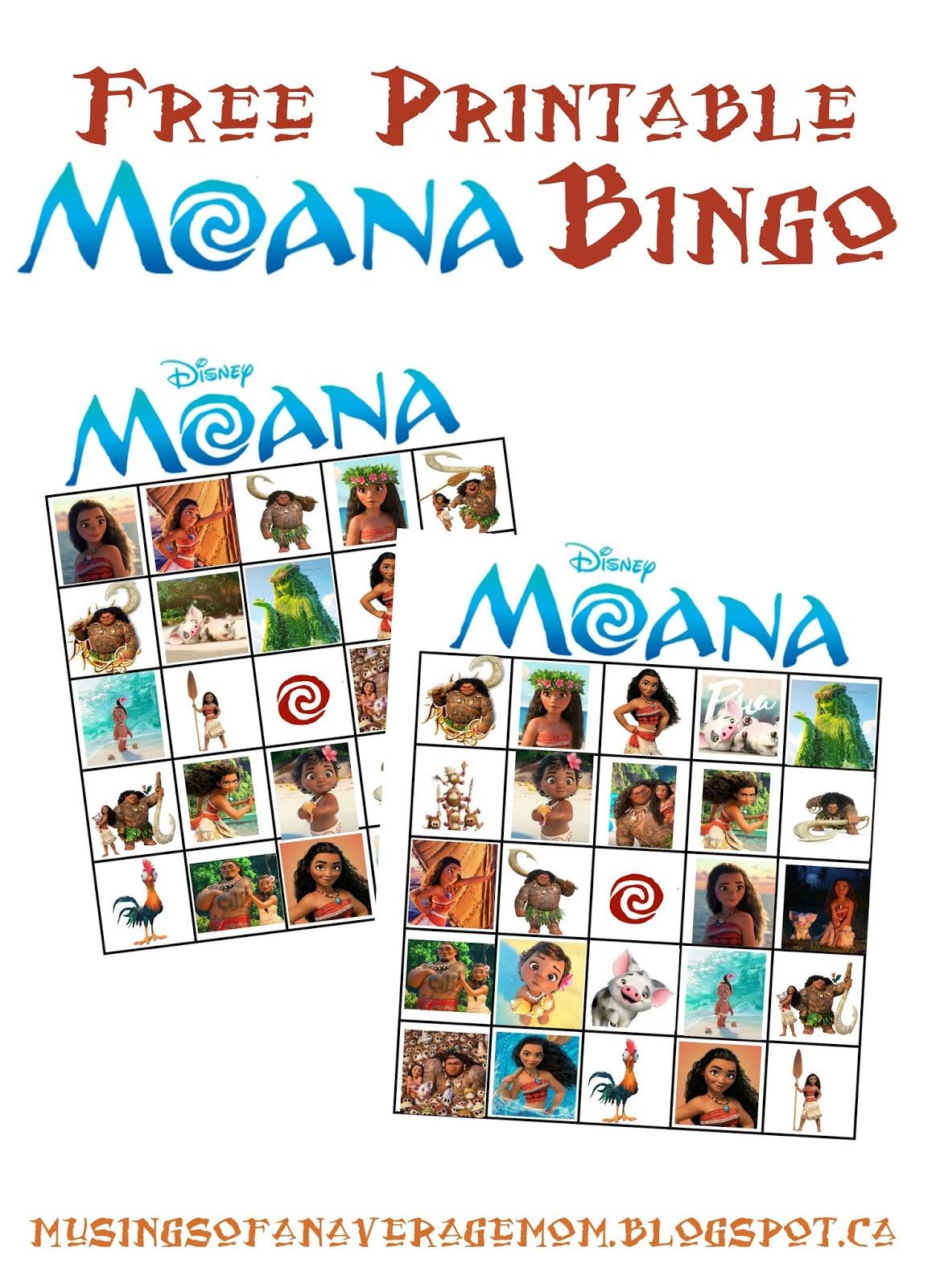 Musings Of An Average Mom: Moana Bingo