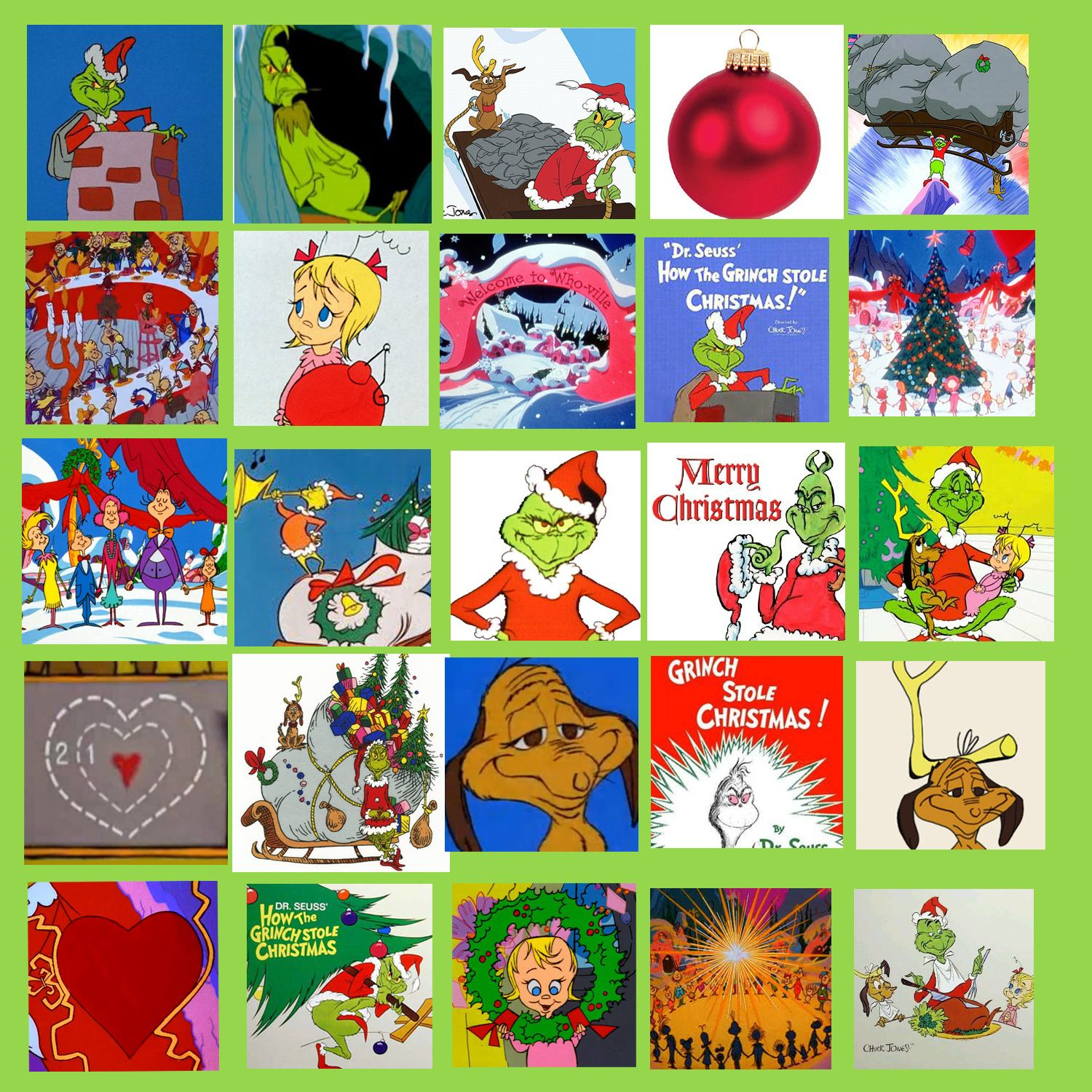 My Own Grinch Bingo Card. I Found 25 Different Images On