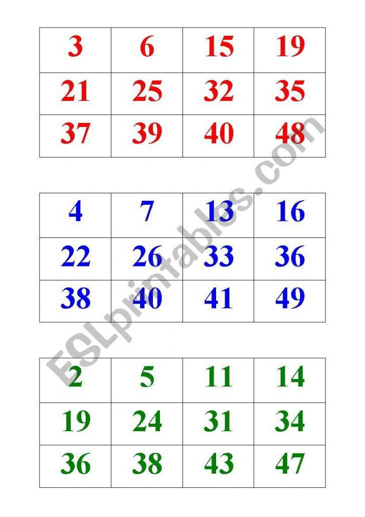 Printable Bingo Cards 1 50