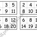 Numbers Bingo Cards (From 1 To 20)   Esl Worksheetcreguen