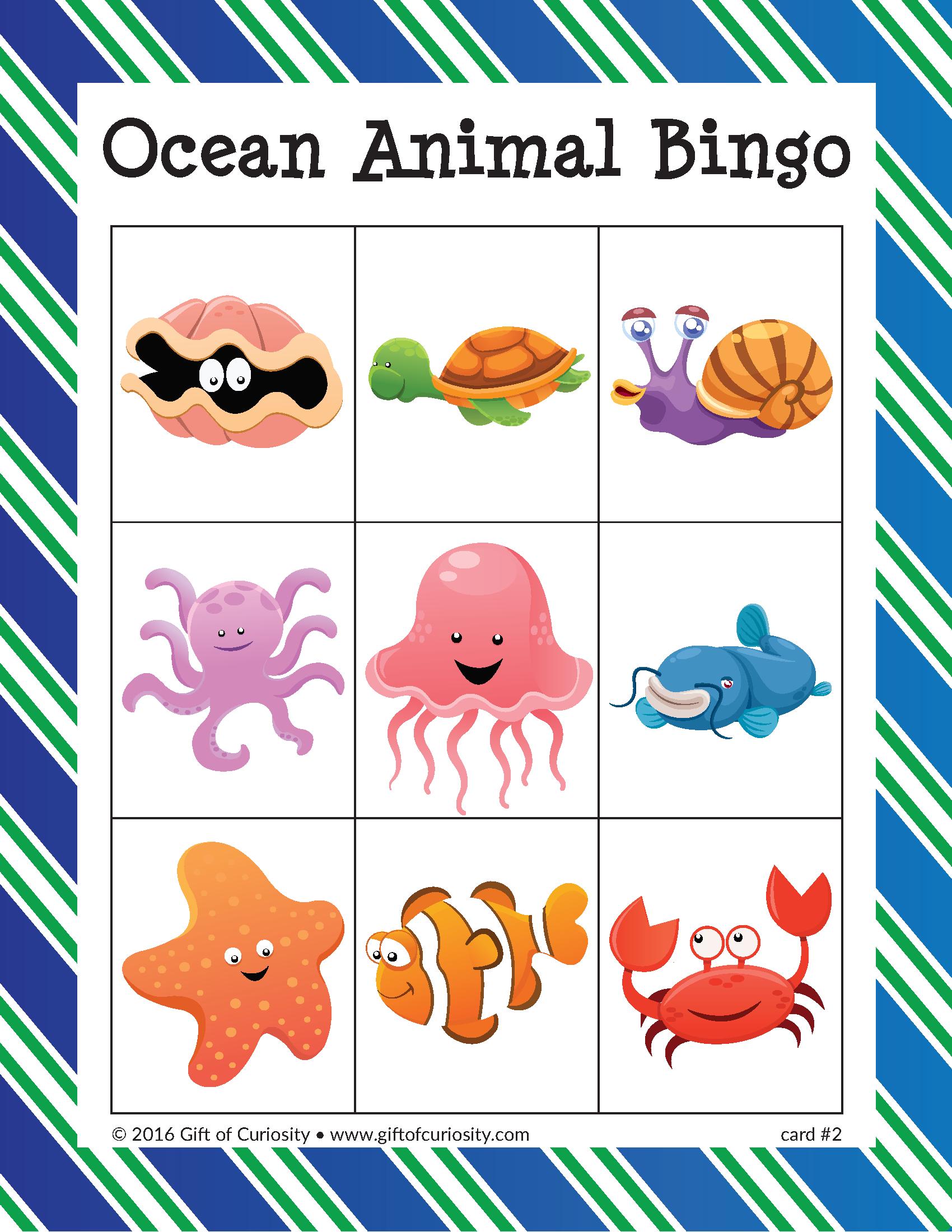 Ocean Animal Bingo | Bingo, Animals For Kids, Ocean Activities