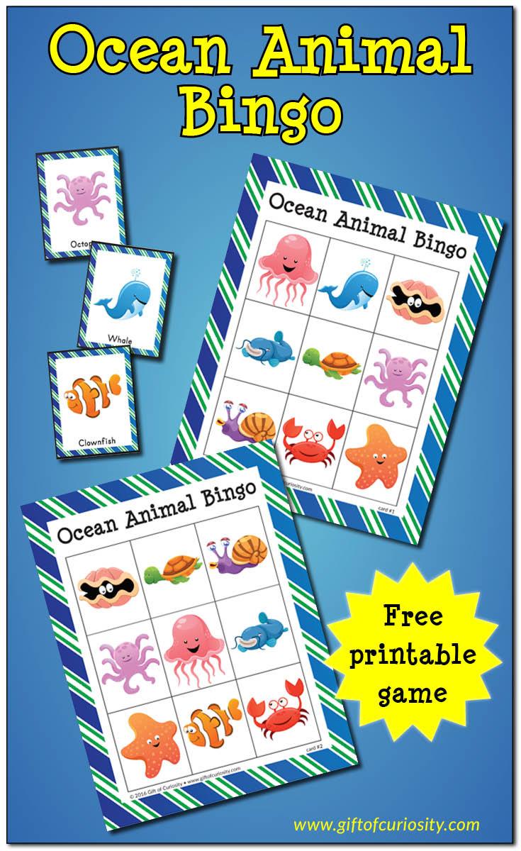 Ocean Animal Bingo {Free Ocean Printables} - Gift Of Curiosity
