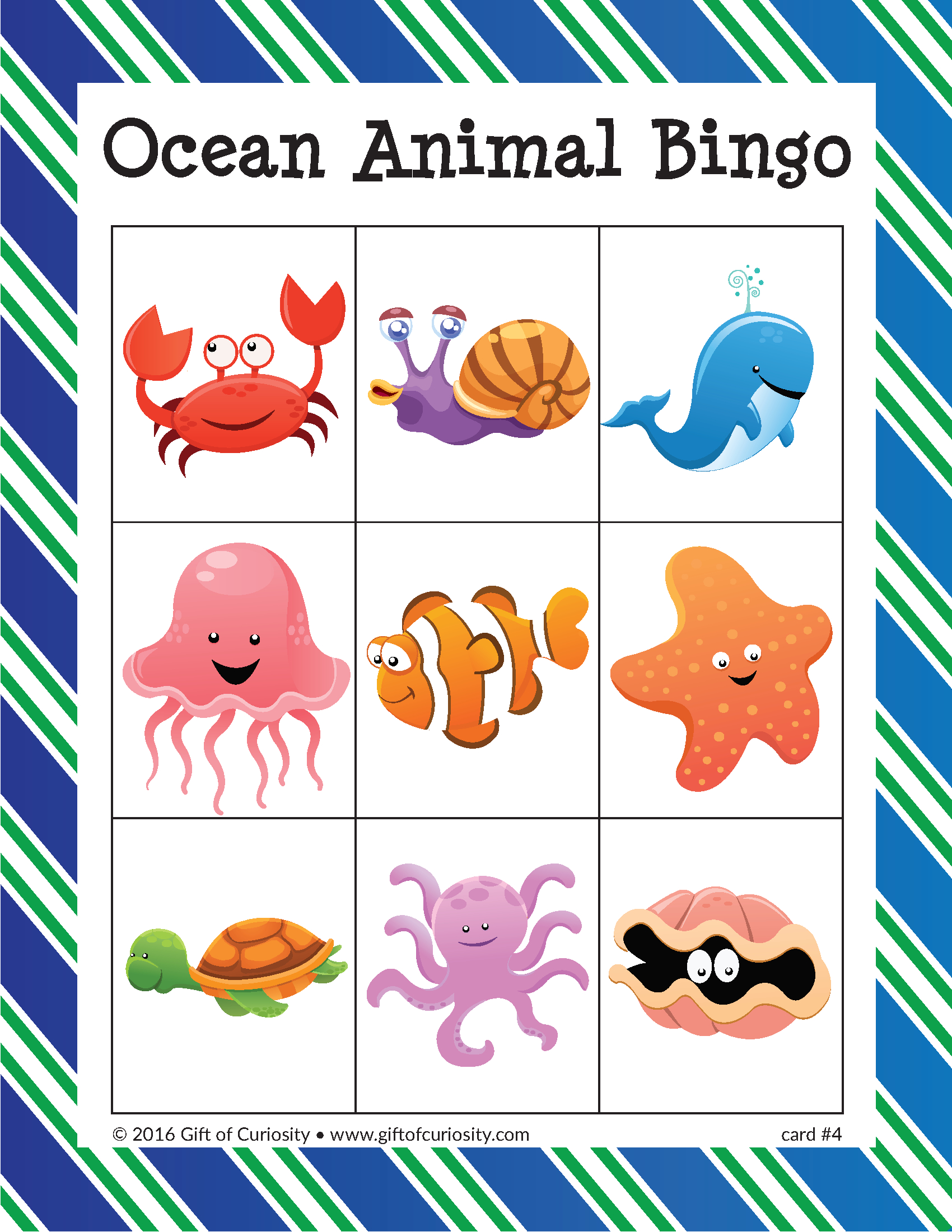 Ocean Animal Bingo | Under The Sea Animals, Animals For Kids