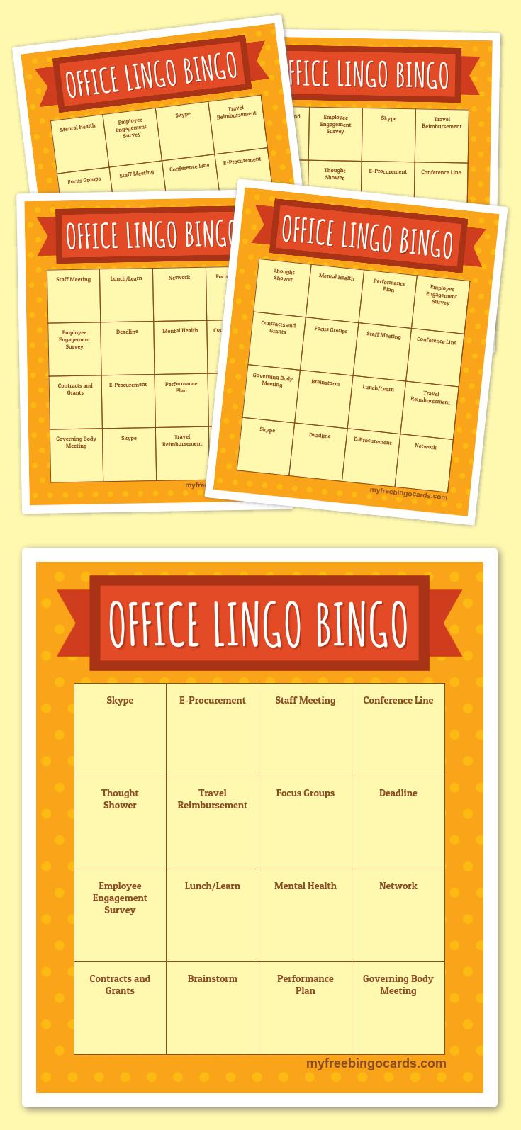 Office Lingo Bingo   Free Printable Bingo Cards, Bingo Cards