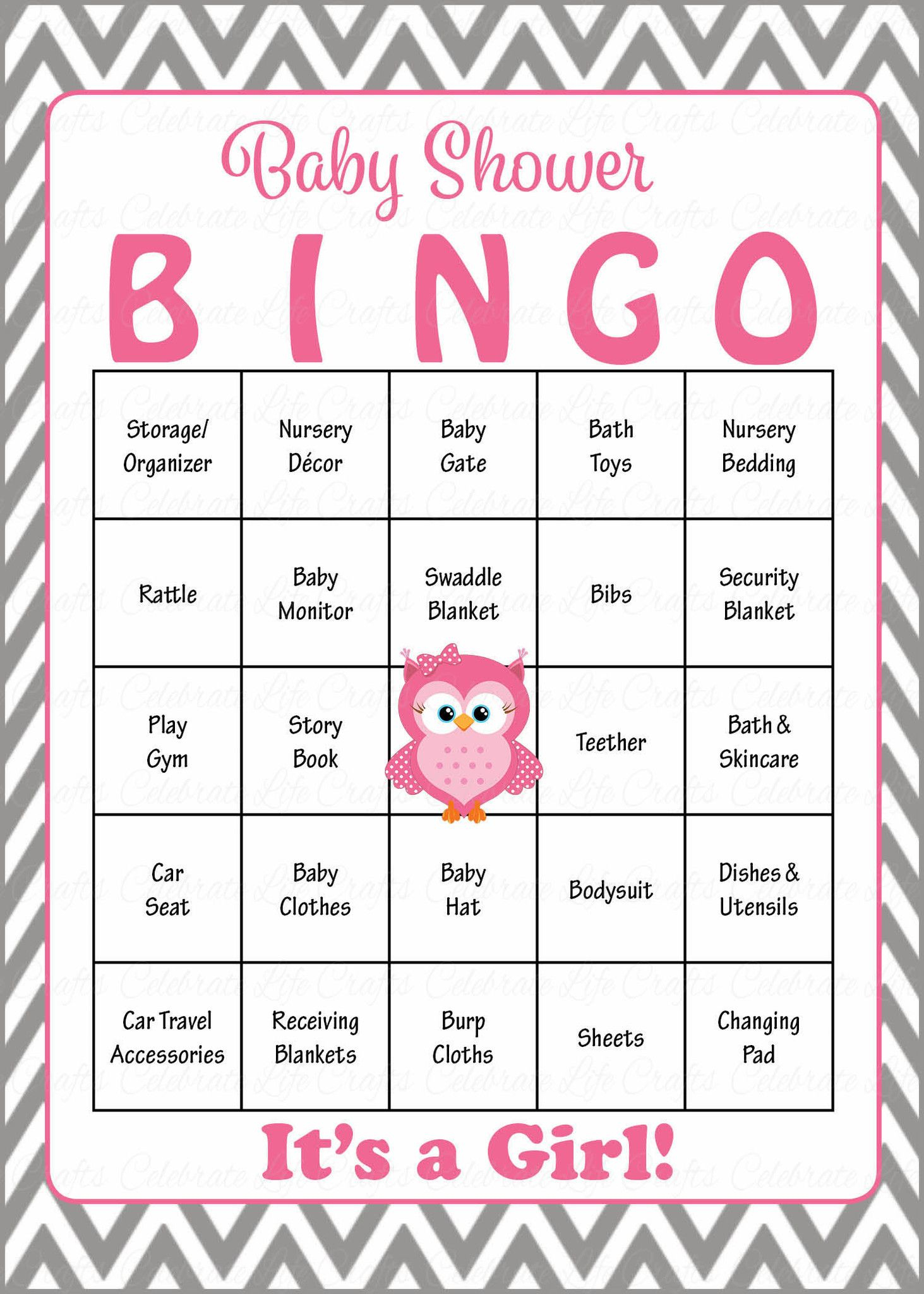 Owl Baby Bingo Cards - Printable Download - Prefilled - Baby