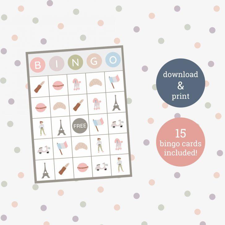 Free Printable Paris Bingo Cards