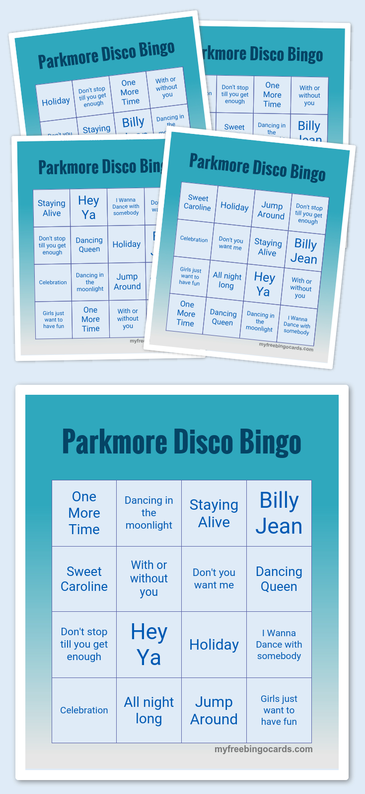 Parkmore Disco Bingo | Conference Call Bingo, Bingo Cards