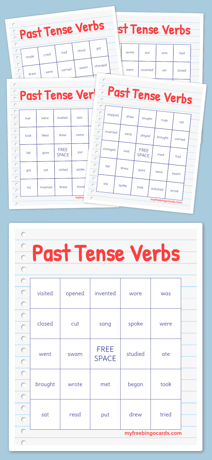 Past Tense Verbs Bingo | Free Bingo Cards, Free Printable