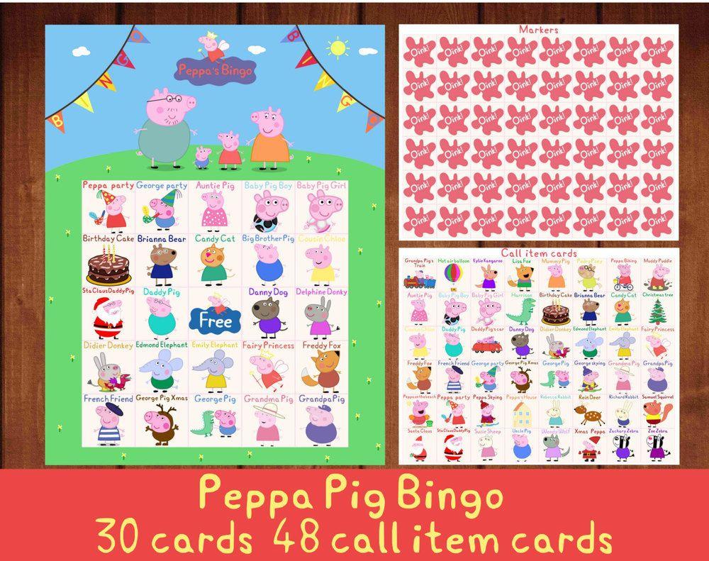 Peppa Pig Bingo, 30 Bingo Cards, 48 Call Item Cards