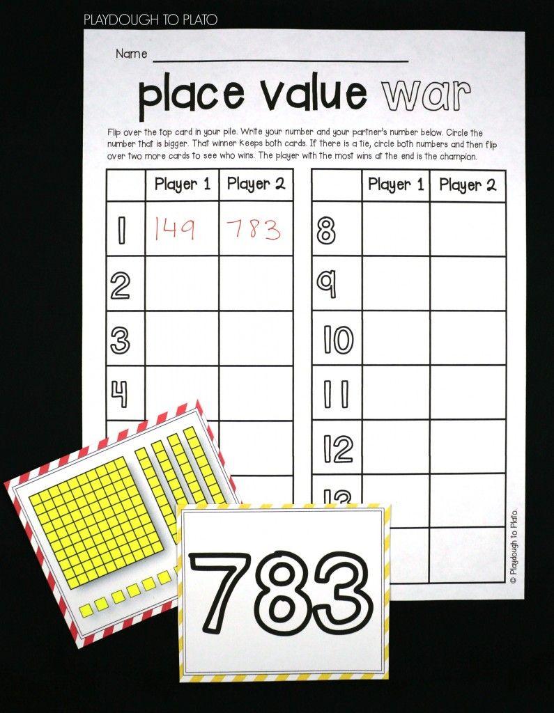 Place Value War | Second Grade Math, Place Values, Math
