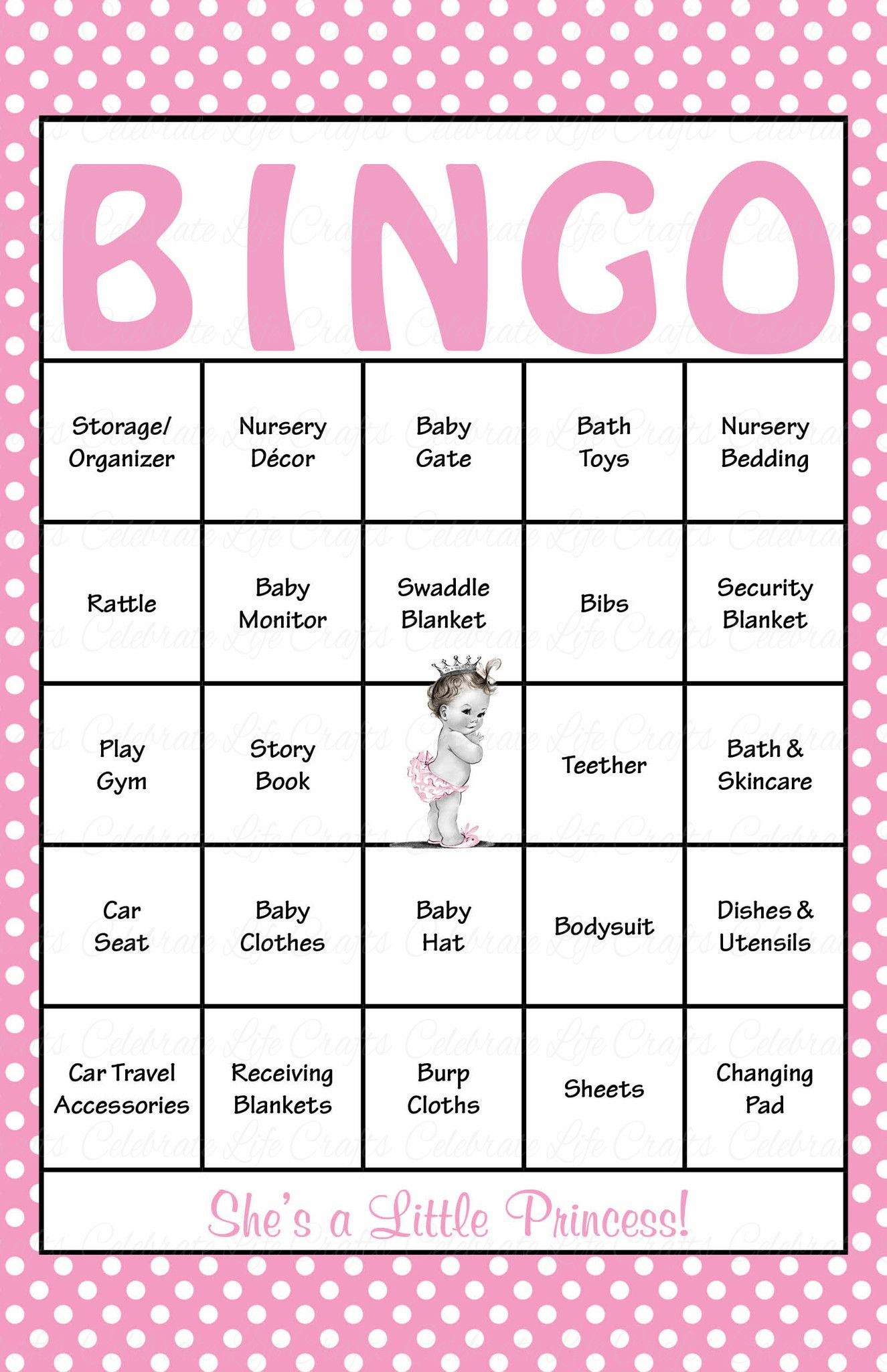 Princess Baby Bingo Cards - Printable Download - Prefilled