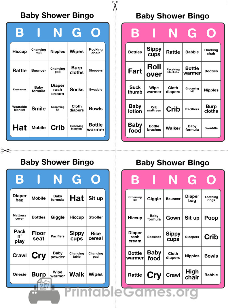 Printable Baby Shower Bingo - 50 Cards (Pink And Blue) - Printable Games