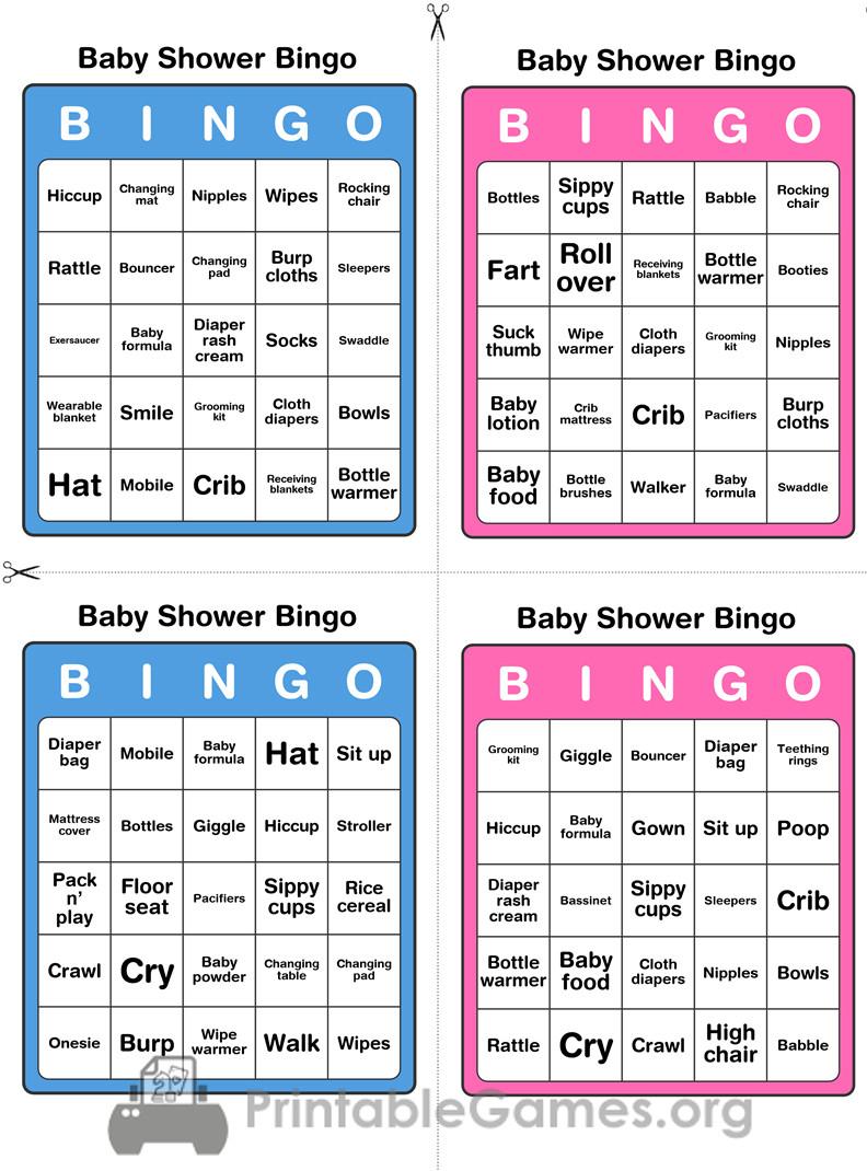 Printable Baby Shower Bingo - 50 Cards (Pink And Blue) - Printable Games