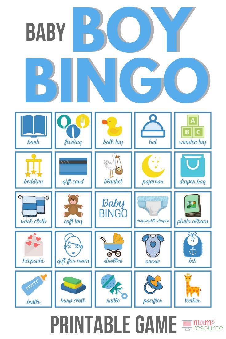 Printable Baby Shower Bingo Boy Cards - 80 Boy Bingo Cards