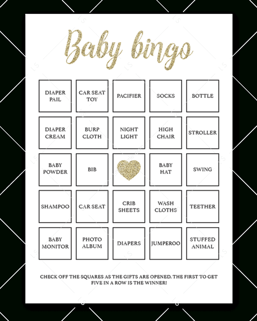 Printable Baby Shower Bingo Cards Gold   Baby Shower Bingo