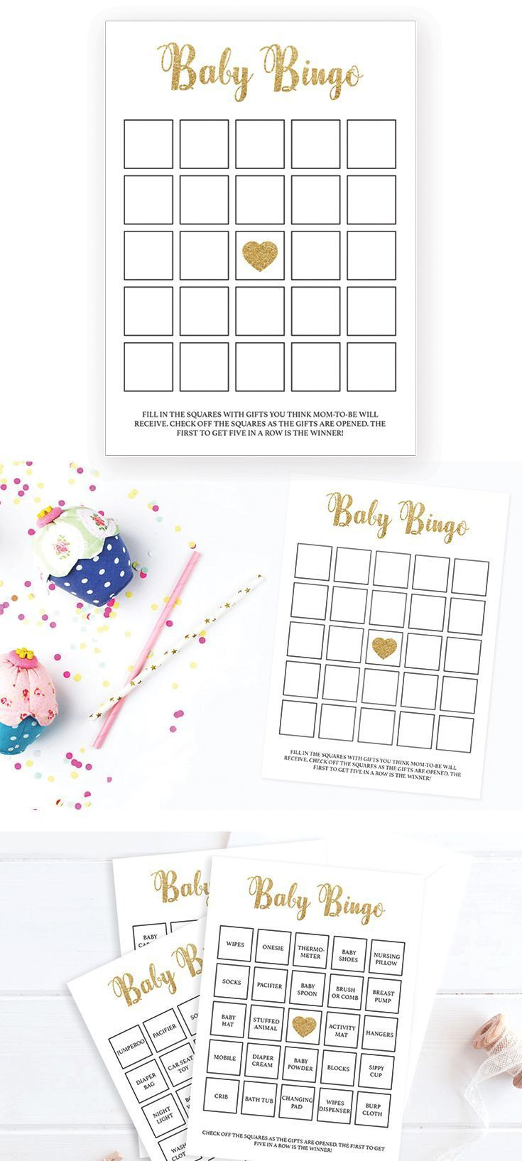 Printable Baby Shower Bingo Cards Gold