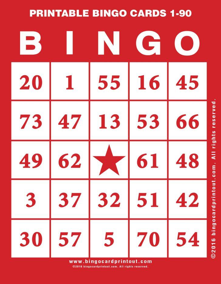 Printable Blank Bingo Cards 1-90