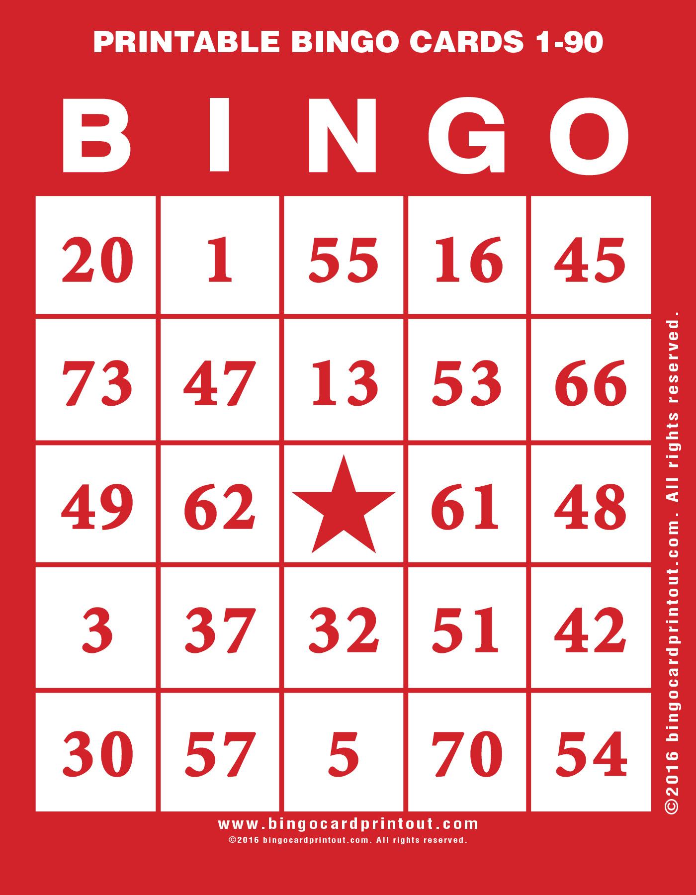 Printable Bingo Cards 1-90 - Bingocardprintout